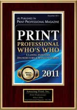 2011 Who's Who, Leading Industry Suppliers, Print Professional Magazine | Amazing Print Tech