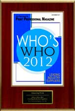 2012 Who's Who, Leading Industry Suppliers, Print Professional Magazine | Amazing Print Tech